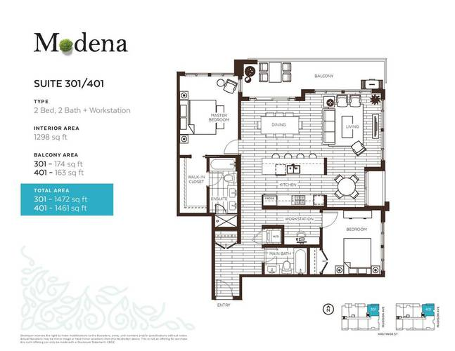 2 Bedrooms Apartment for Rent in The  Modena, 4289 Hastings St, Burnaby, BC - 2
